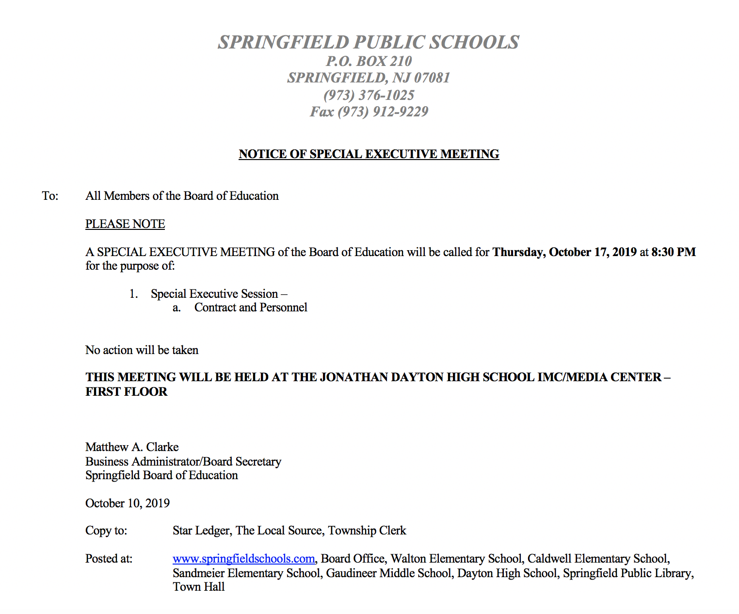 Springfield Board of Education Public Notice of Intent to Amend and/or Alter Superintendent's Contract