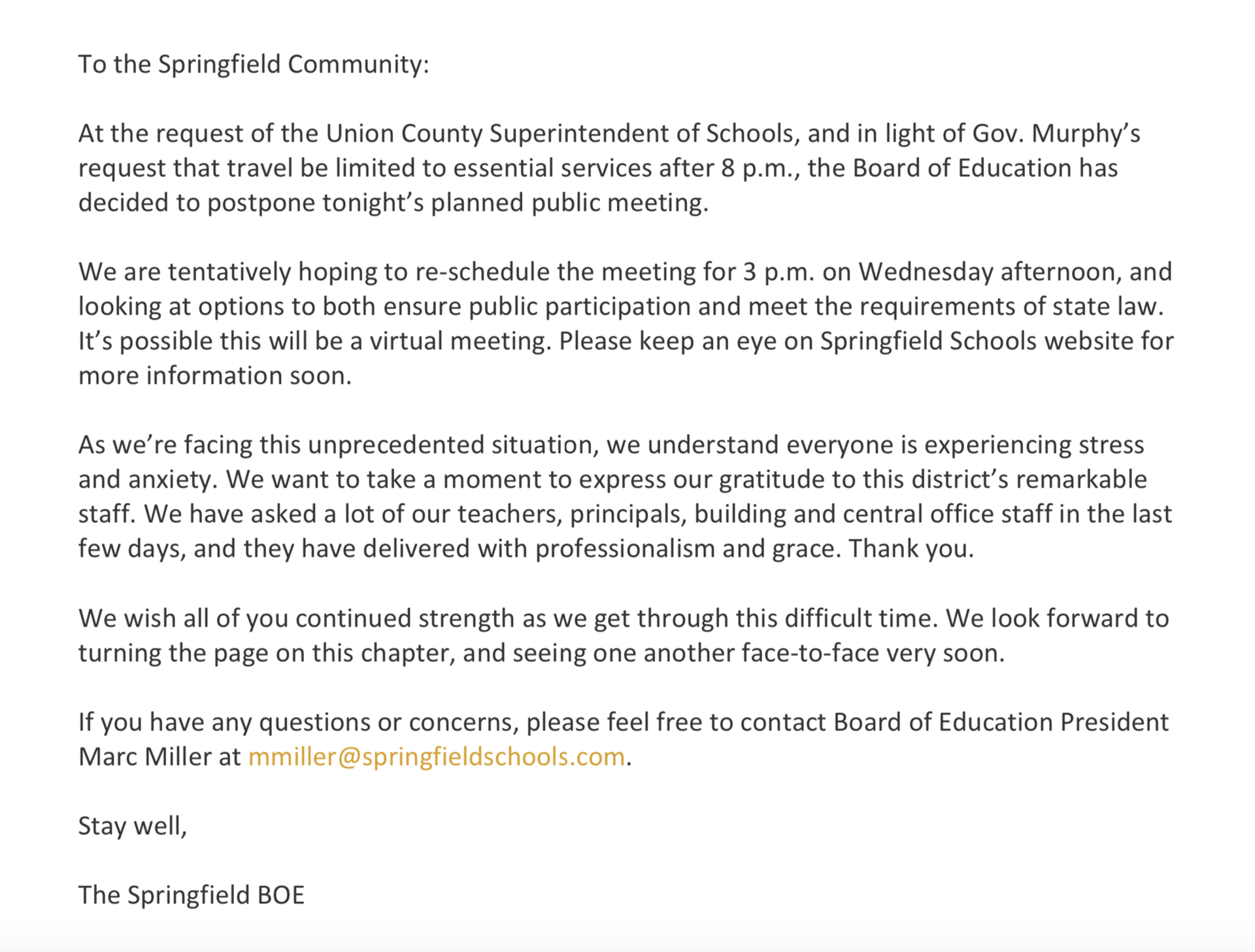 BOE Meeting Moved to 3PM Wednesday, March 18, 2020