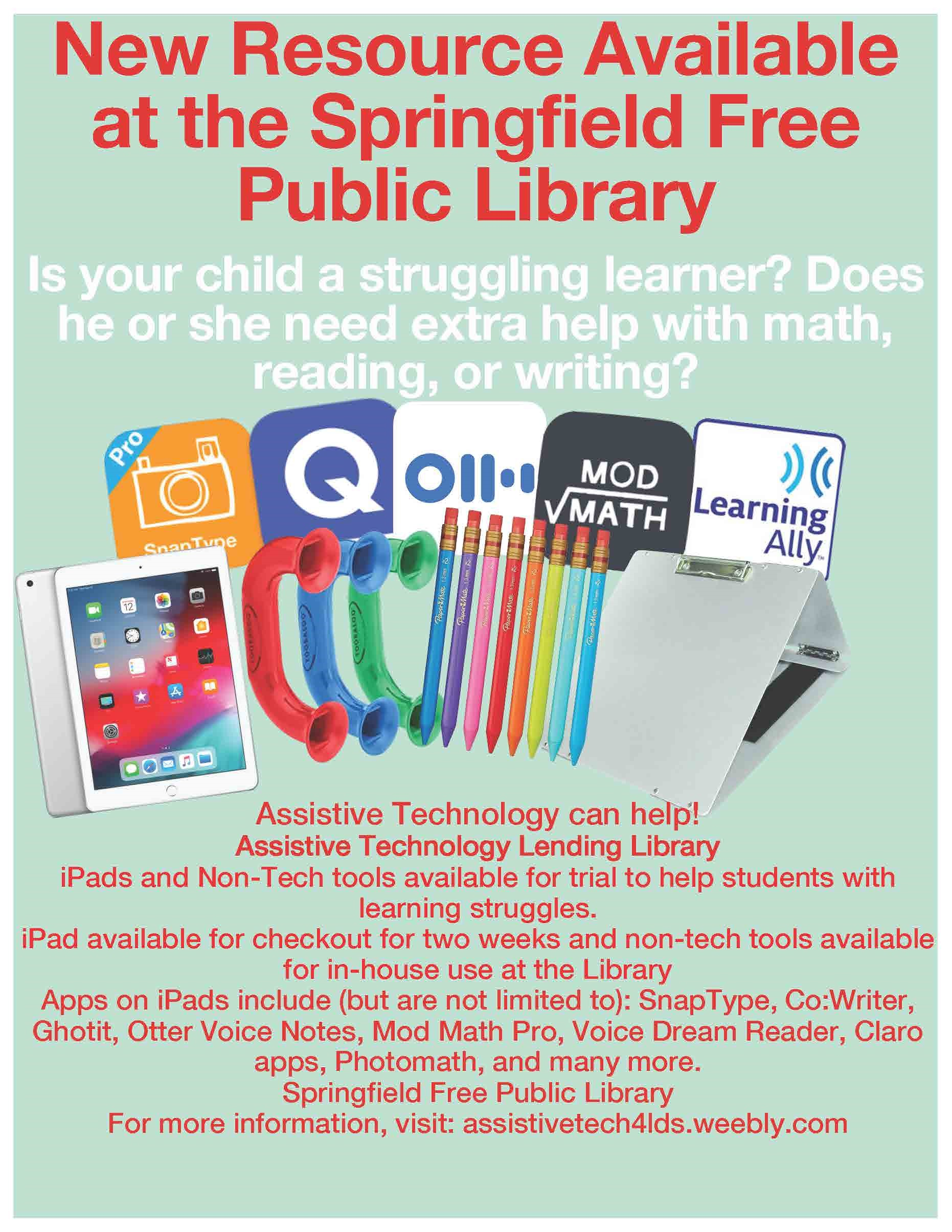 Assistive Technology Available at the Springfield Public Library Flyer