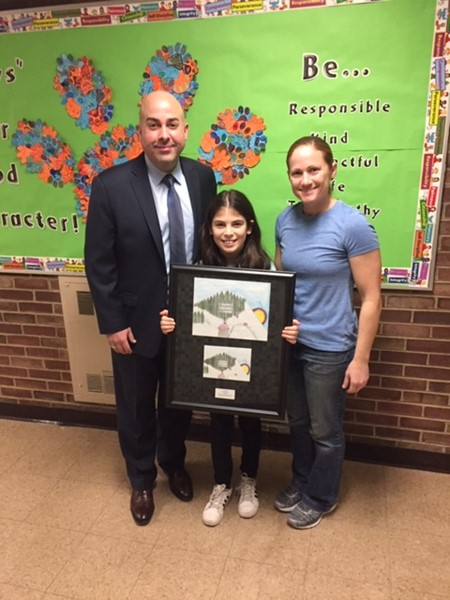 Thelma L. Sandmeier School, from left: Michael Plias, Principal; Yve Lieberman (Grade 4); Kim Noto, Art Teacher.