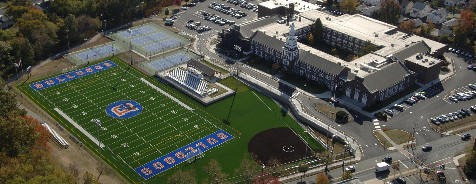 aerial picture of JDHS with football field