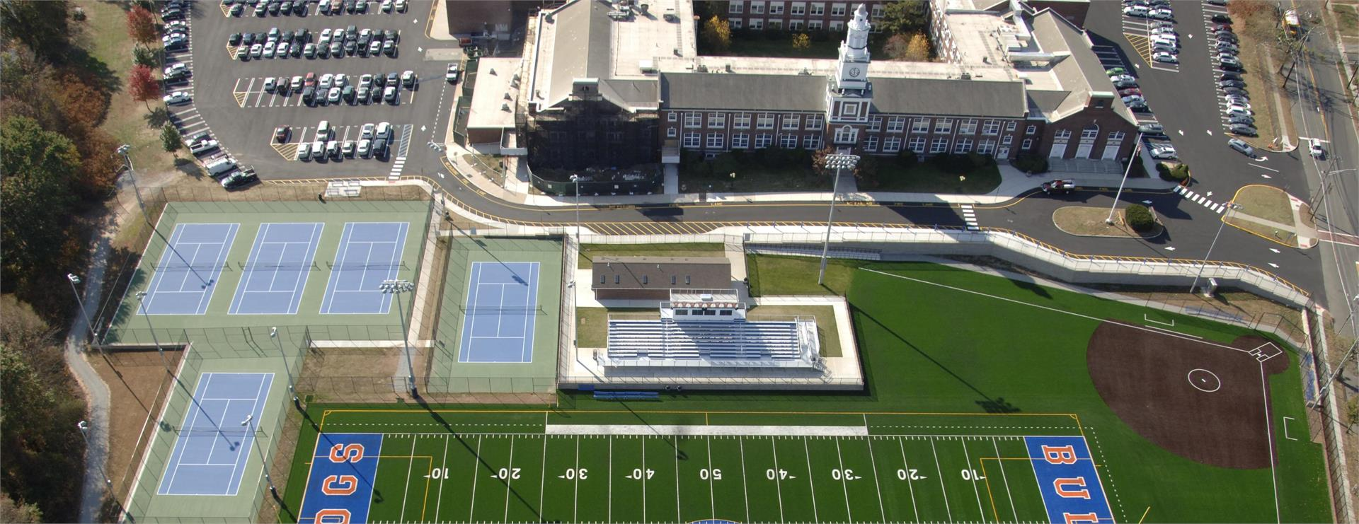 aerial view of high school and football field