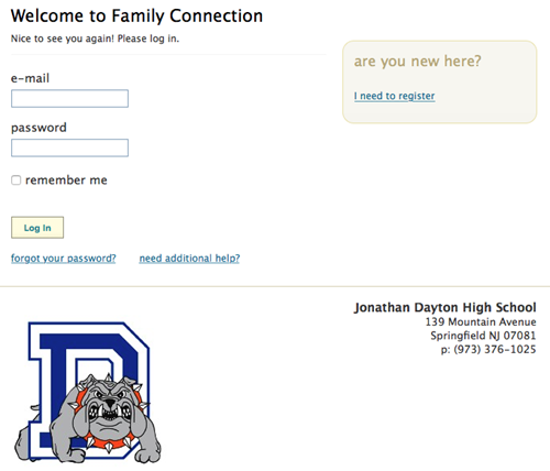 Screen shot of Naviance Family Connection log in screen
