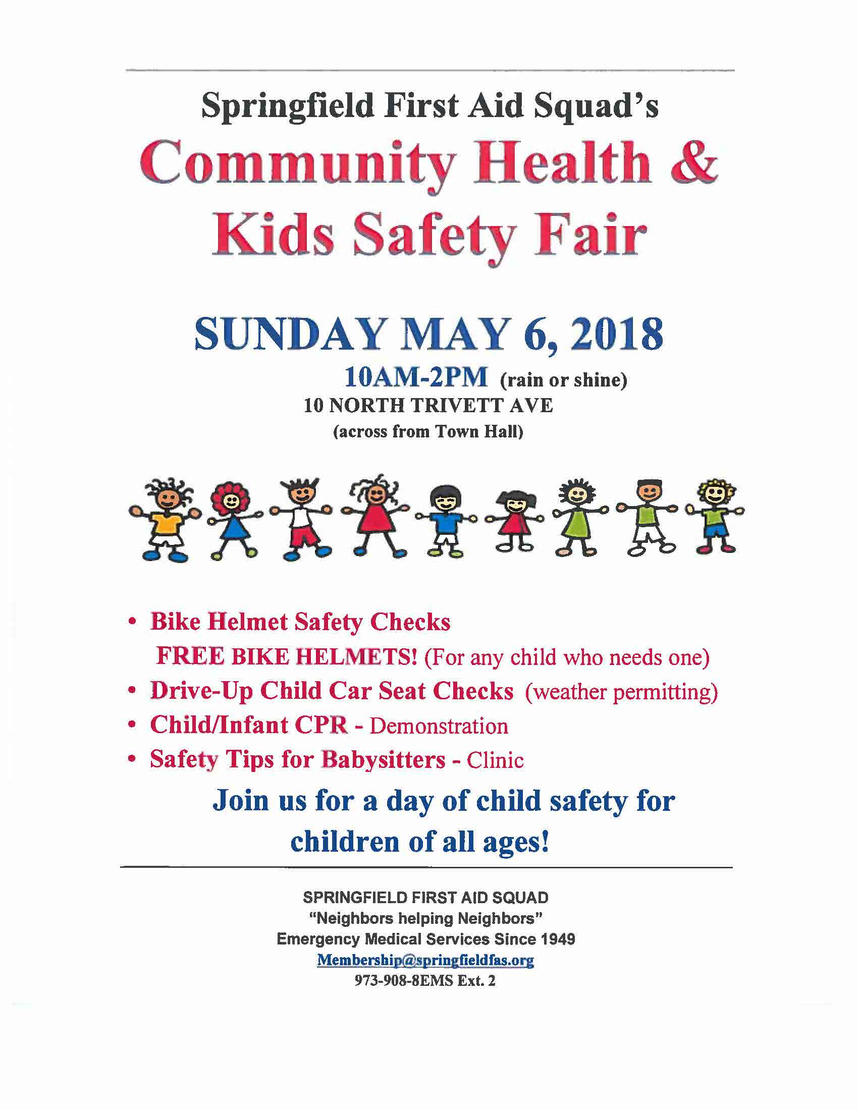 community health and Kids safety fair, Sunday, may 6
