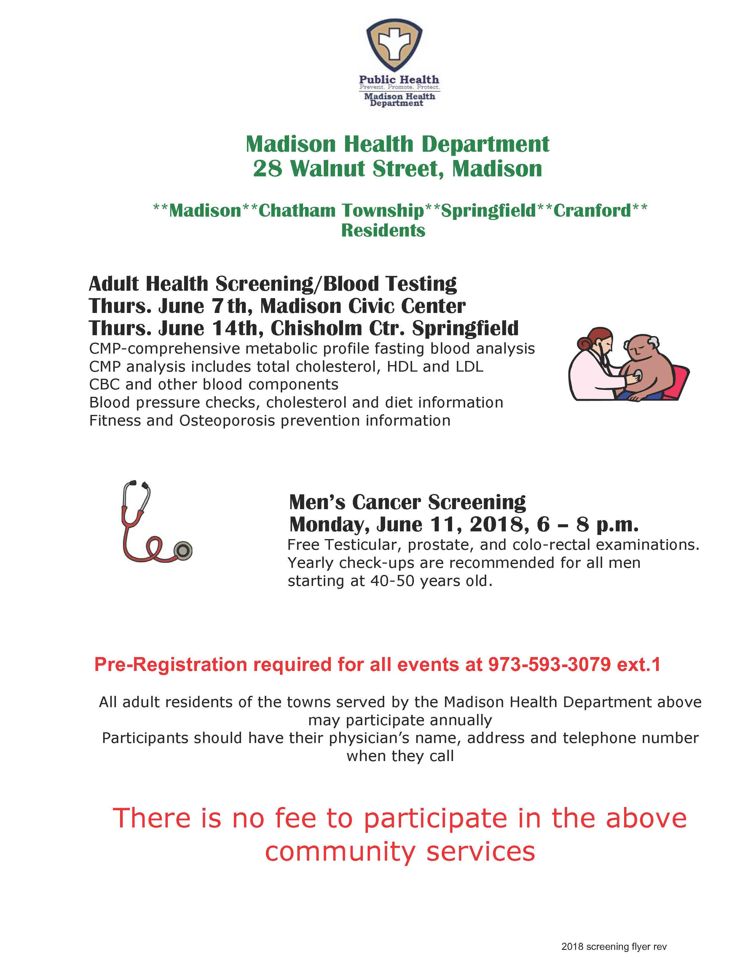 Free Adult Health Screening & Blood Testing by the Madison Health Department 973-593-3079