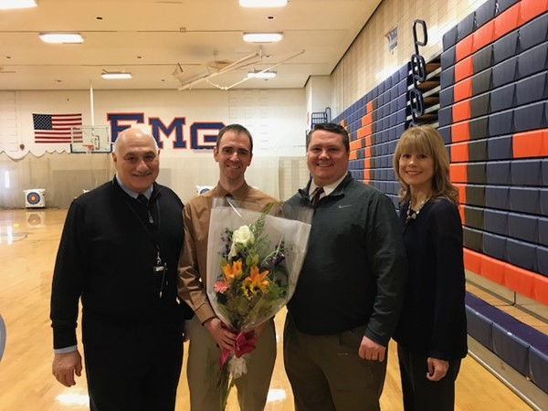 From left: Michael Davino, Superintendent; Robert Hildebrand, Teacher of the Year for the Gaudineer Middle School; Timothy Kielty, Principal; Erica Scudero, Director of Curriculum and Assessment and Instruction