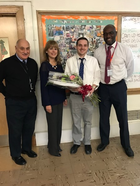 From left:  Michael Davino, Superintendent; Erica Scudero, Director of Curriculum, Assessment and Instruction; Anthony De Nicolo Teacher of the Year for Dayton High School; Norman Francis, Principal