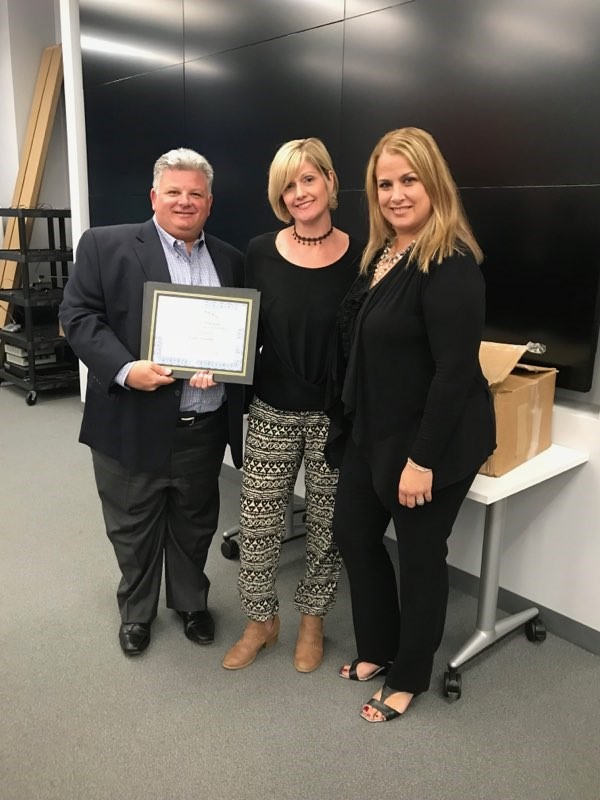 From Left: Scott Silverstein - Board President, Deanna Leonardis - Teacher of The Year and Adriana Coppola - Principal, Edward V. Walton Early Childhood Center