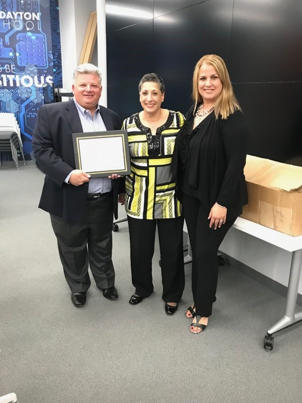 From Left: Scott Silverstein - Board President, Camille Paolino - Teacher of The Year and Adriana Coppola - Principal, Edward V. Walton Early Childhood Center